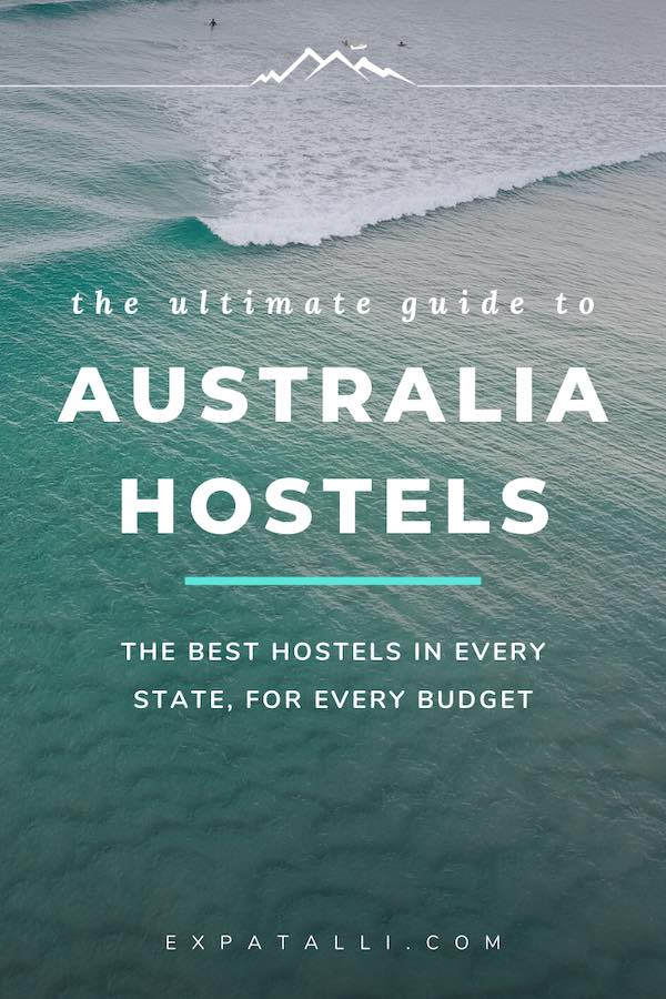 "Pinterest image of ocean with text ""the ultimate guide to Australia hostels"""