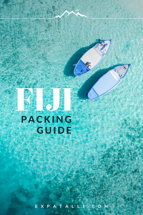 "Pinterest image of boats over a tropical reef, with text: ""Fiji packing guide"""