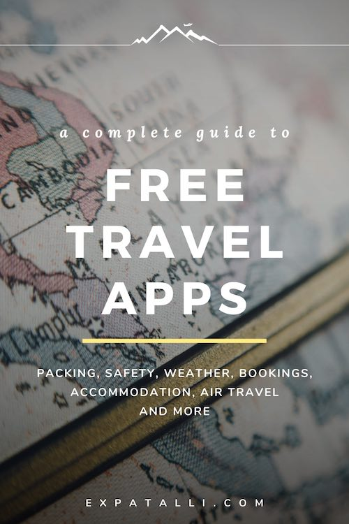 """Pinterest image of a world globe with text: """"A complete guide to free travel apps"""""""